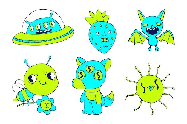 Acid colors hand-drawn funny sticker set Free Vector