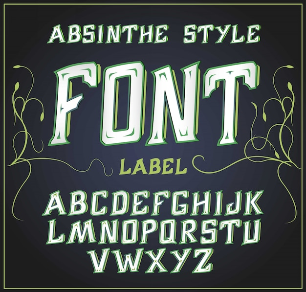 Acid font good for use to decoration alcohol production leaflet and other printing  green Premium Vector