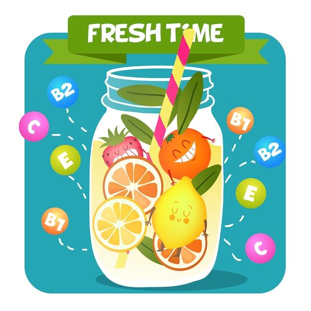 Acid fruits juice background