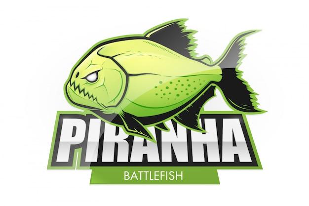 Acid green piranha fish logo Premium Vector
