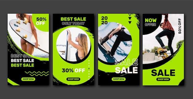 Кислотная продажа инстаграм пост-сбор Бесплатные векторы