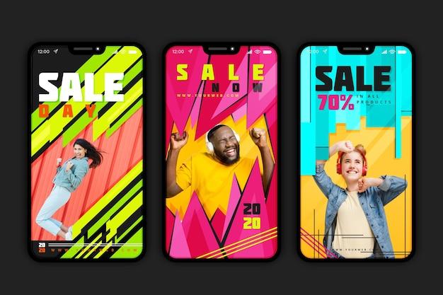 산 판매 Instagram 이야기 프리미엄 벡터