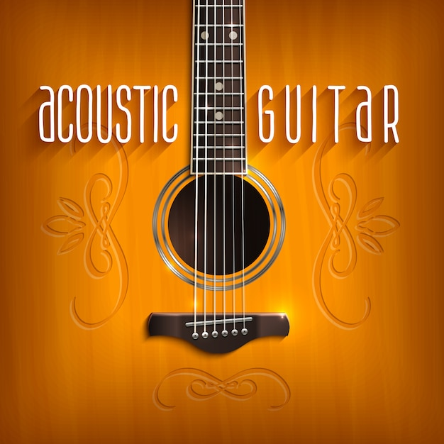 Acoustic guitar background Free Vector