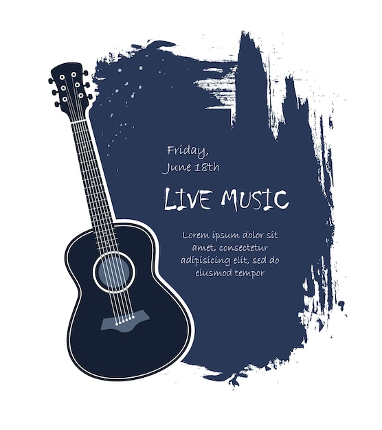 acoustic guitar banner Free Vector