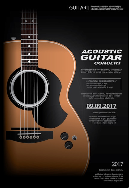 Acoustic guitar concert poster background template Premium Vector