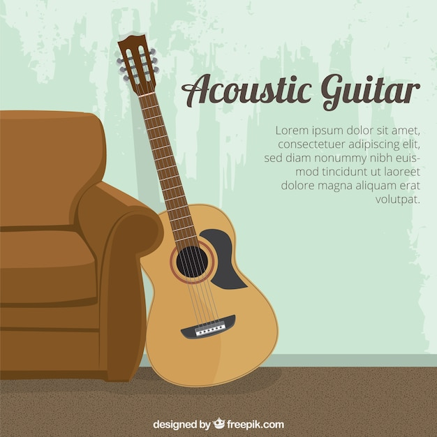 acoustic guitar template vector premium download