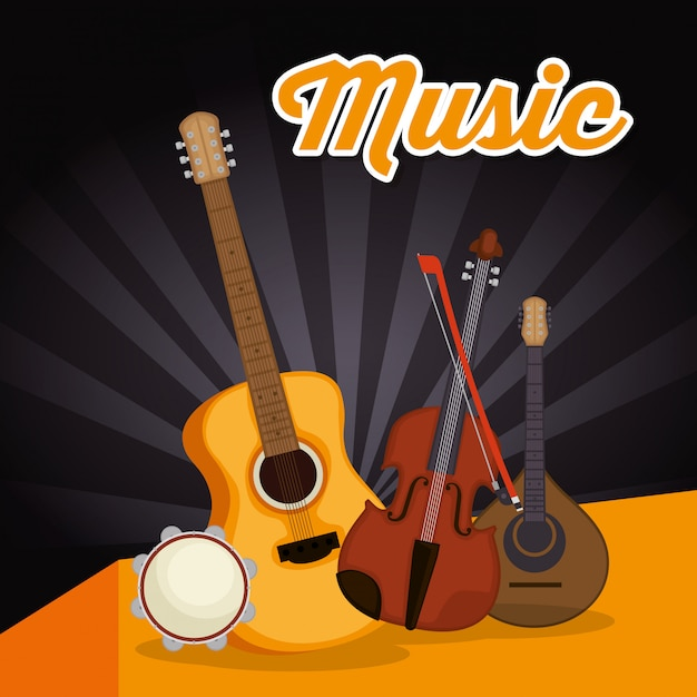 Acoustic guitar with instruments Premium Vector
