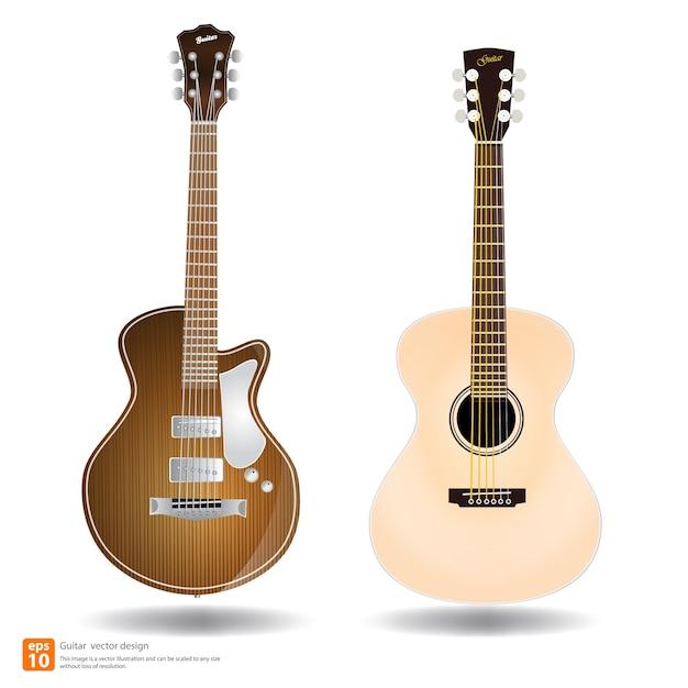 Acoustic guitar Premium Vector