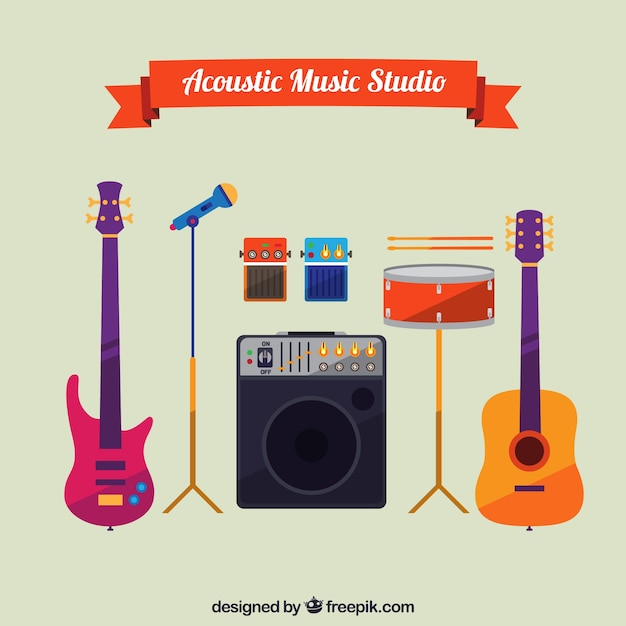 Acoustic music equipment in flat style Free Vector