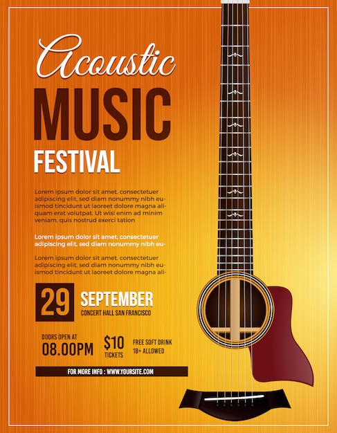 Acoustic music guitar poster Premium Vector