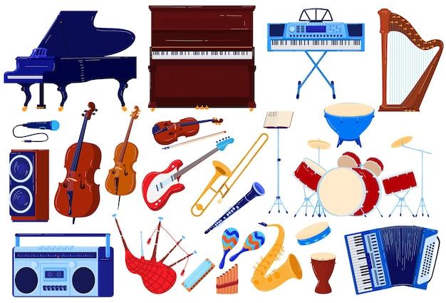 アコースティック楽器、オーケストラオーディオコンサートベクトルイラストセット。ヴァイオリンハープサックスアコーディオンの楽器コレクション Premiumベクター