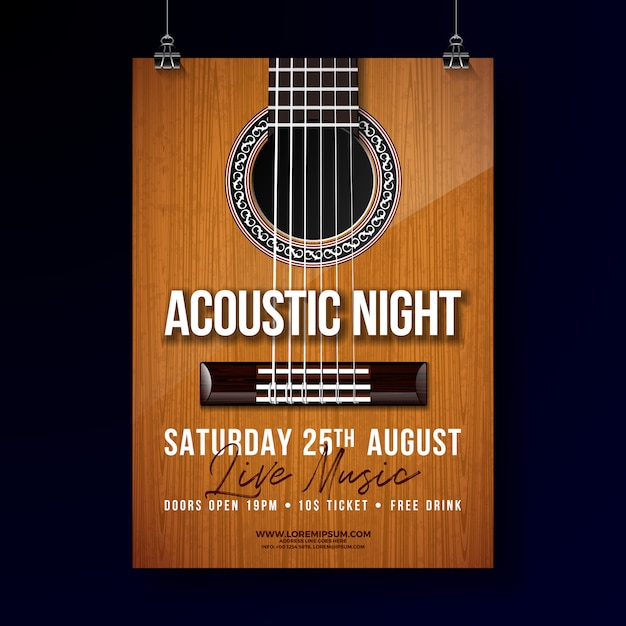 Acoustic night party flyer design Premium Vector