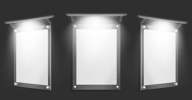 Acrylic poster, blank glass frame with illumination hang on wall isolated on black background Free Vector
