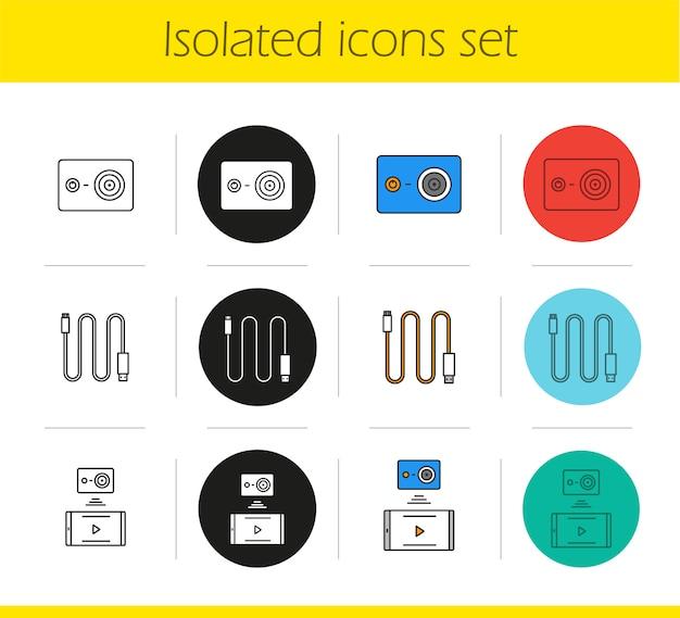 Action camera icons set Premium Vector