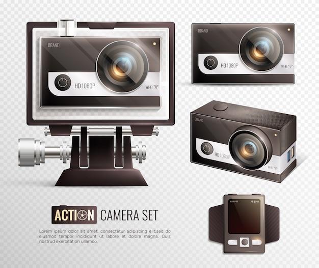Set transaparente di action camera Vettore gratuito