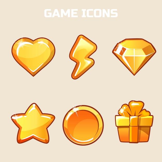 Набор игровых иконок gold action Premium векторы