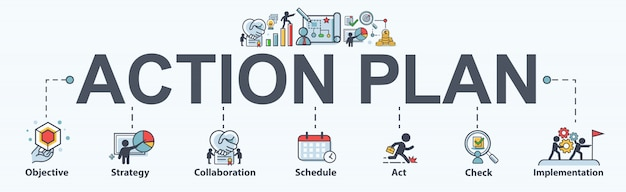 Action plan banner web icon for business and marketing. Premium Vector