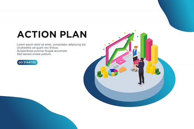 Action plan isometric vector illustration concept. Premium Vector