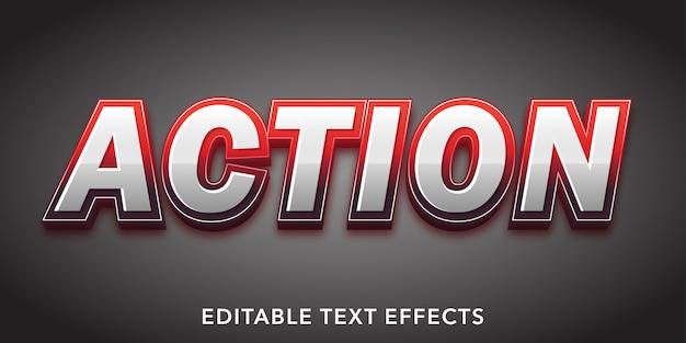 액션 텍스트 3d 스타일 편집 가능한 텍스트 효과 프리미엄 벡터