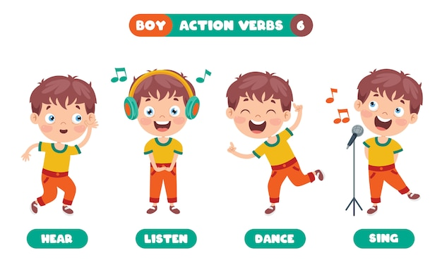 Action verbs for children education Premium Vector