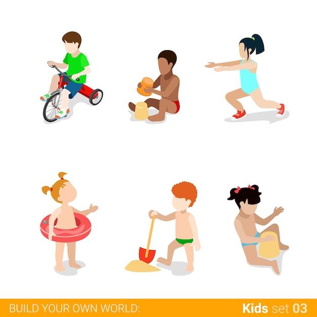 플레이 육아 웹 인포 그래픽 개념 아이콘 세트에서 활성 해변 휴가 어린이. 무료 벡터
