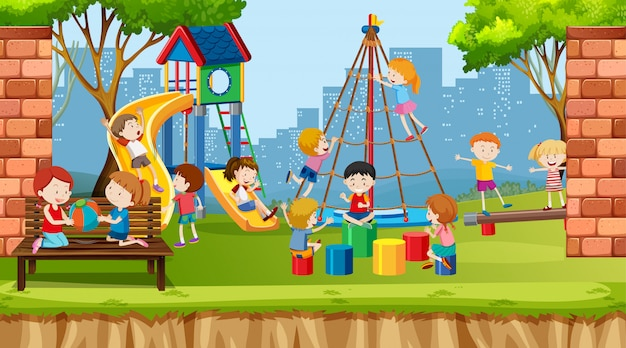 Active boys, girls and friends playing sport activities outdoors Free Vector