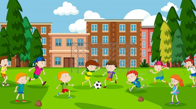 Active boys and girls playing sport and fun activities outside Free Vector