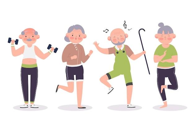 Active elderly people collection Premium Vector