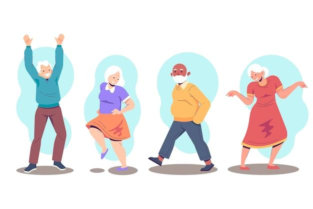Active elderly people pack Premium Vector