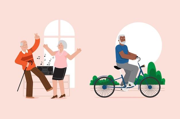 Active elderly people set Free Vector
