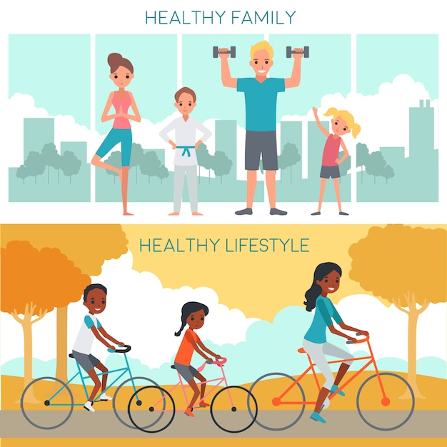 Active family horizontal banners Free Vector