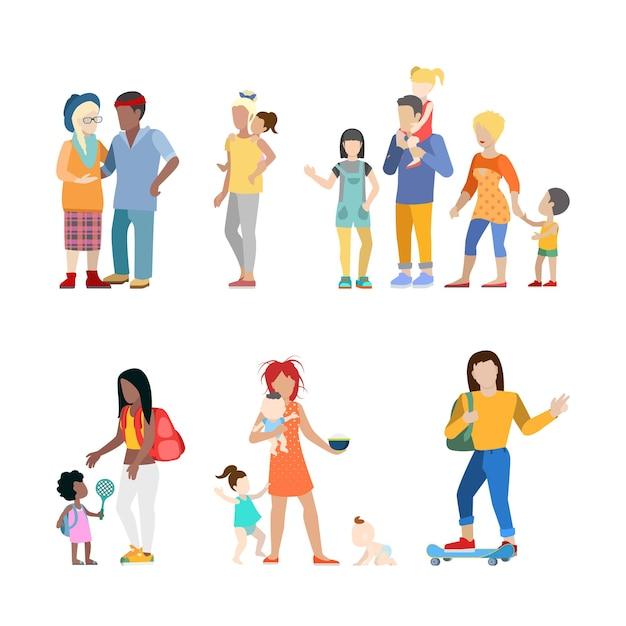 Активная семья городская молодежь родители воспитание детей уход няня пара Бесплатные векторы