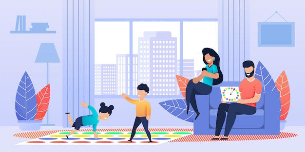 Active floor standing twister-game for family Premium Vector