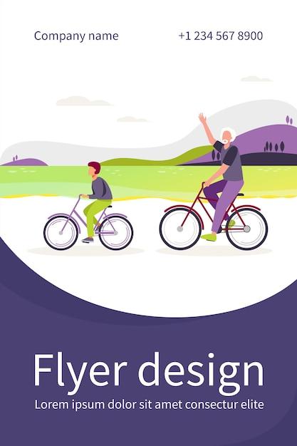 함께 자전거를 타고 활동적인 할아버지와 손자. 노인과 소년 자전거 야외 평면 그림. 플라이어 템플릿 무료 벡터