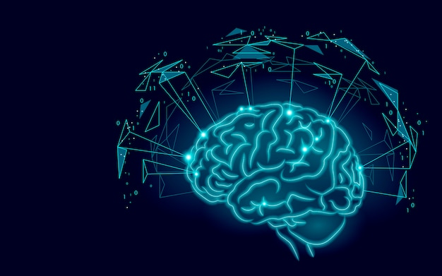 Active human brain artificial intelligence next level man menthal abilities Premium Vector