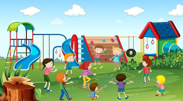 Active kids playing in outdoor scene Free Vector