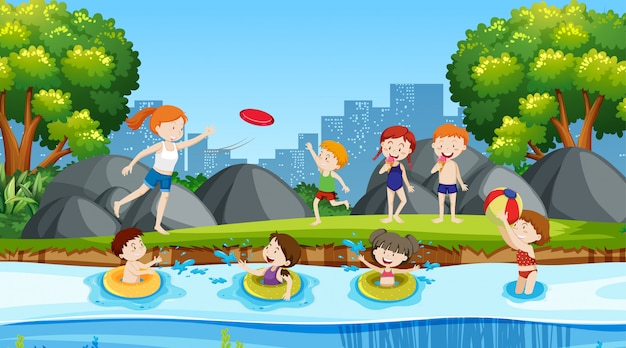 Active kids playing in outdoor scene Free Vector