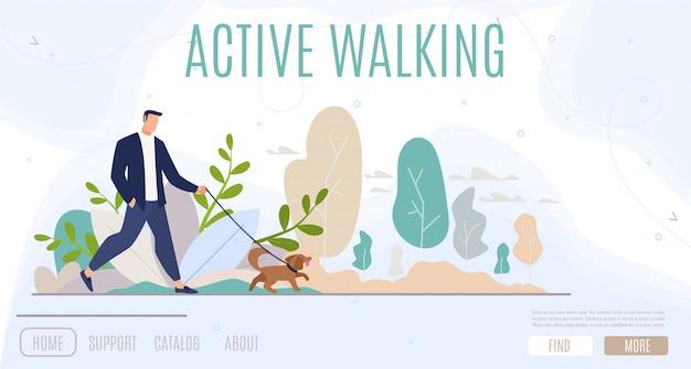 Active leisure in city web banner Premium Vector