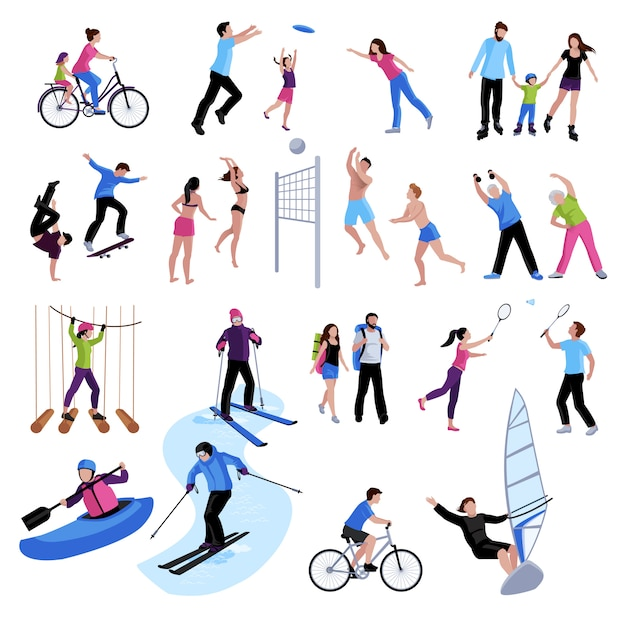 Active leisure people icons set Free Vector