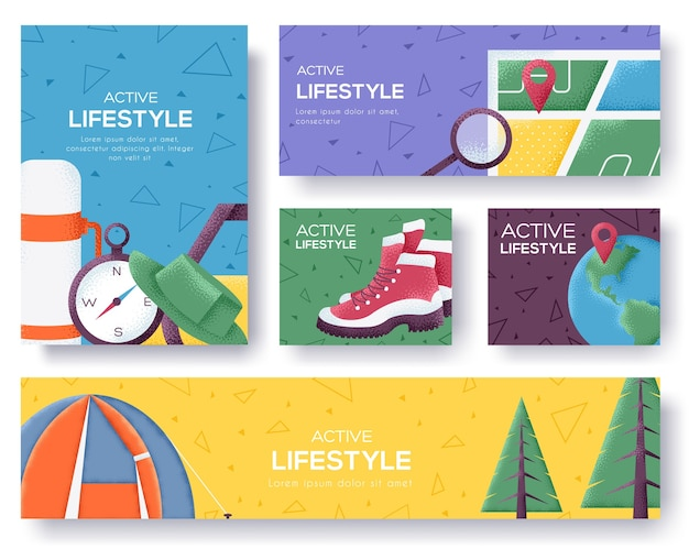 Active lifestyle banners. Premium Vector