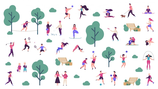 Active outdoor lifestyle. people healthy lifestyle and park sport activities, outdoor games, jogging and running  illustration icons set. outdoor boy training, skateboarding and playing Premium Vector