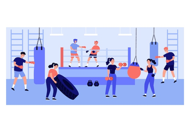Active people exercising in fight club Premium Vector