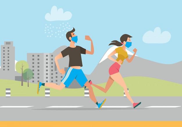 Active people in face masks running outdoors Free Vector