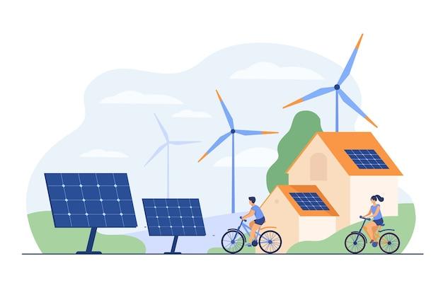 옥상 평면 그림에 태양 전지 패널이있는 자전거, 풍차 및 집에서 활동적인 사람들. 무료 벡터