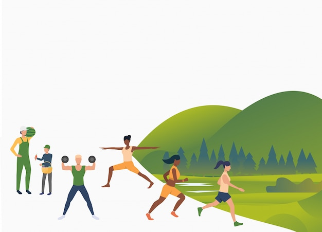 Active people training outdoors Free Vector