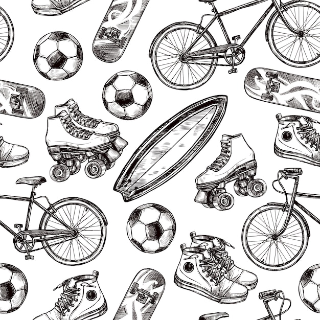 Active Recreation Seamless Pattern