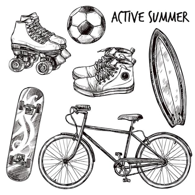 Active recreation sketch set Free Vector