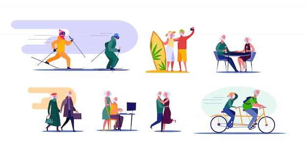 Активные старшие пары путешествуют и занимаются спортом Бесплатные векторы