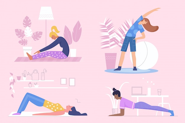 Active sportive girls do morning exercises, fitness at home flat character illustration set Premium Vector