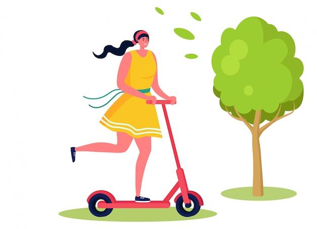 Активные спортивные люди иллюстрации, мультфильм счастливая женщина персонаж езда самокат в летнем городском парке на белом Premium векторы